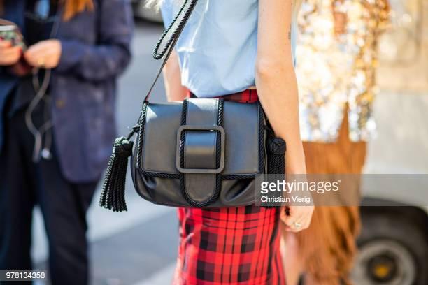 Ada Kokosar blue blouse red plaid lumberjack pencil skirt black bag seen outside N21 during Milan Men's Fashion Week Spring/Summer 2019 on June 18...