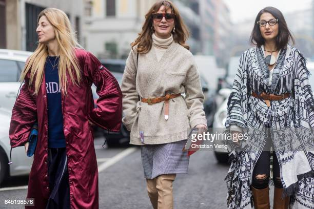 Ada Kokosar Ece Sukan Nausheen Shah outside Etro during Milan Fashion Week Fall/Winter 2017/18 on February 24 2017 in Milan Italy