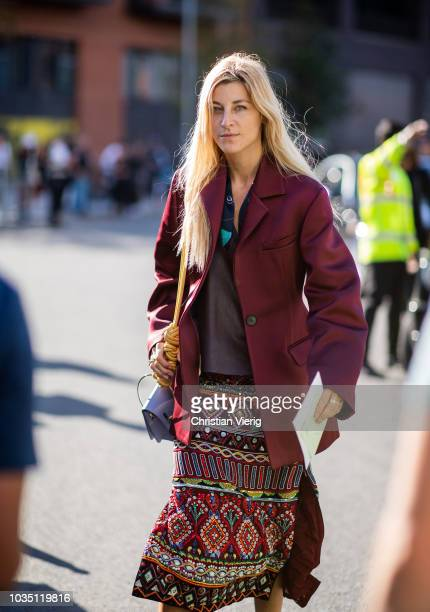 Ada Kokosar is seen outside Burberry during London Fashion Week September 2018 on September 17 2018 in London England
