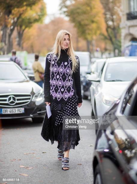 Ada Kokosar is seen outside Rochas during Paris Fashion Week Spring/Summer 2018 on September 27 2017 in Paris France
