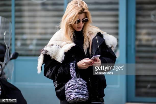 Ada Kokosar is seen outside Sacai during Paris Fashion Week Womenswear Fall/Winter 2018/2019 on March 5 2018 in Paris France