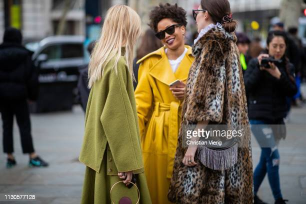 Ada Kokosar is seen wearing green top and skirt bag with fringes outside Erdem during London Fashion Week February 2019 on February 18 2019 in London...