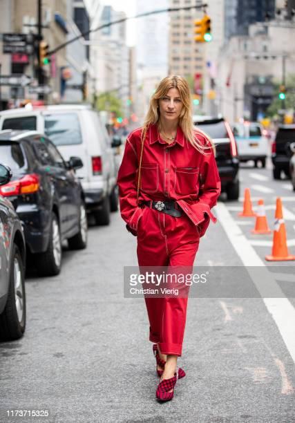Ada Kokosar is seen wearing red pants belt button shirt outside Vera King during New York Fashion Week September 2019 on September 10 2019 in New...