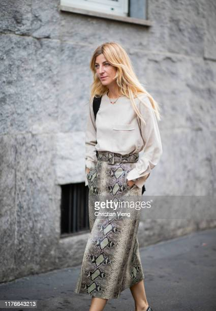 Ada Kokosar is seen wearing skirt with snake print outside the Missoni show during Milan Fashion Week Spring/Summer 2020 on September 21 2019 in...