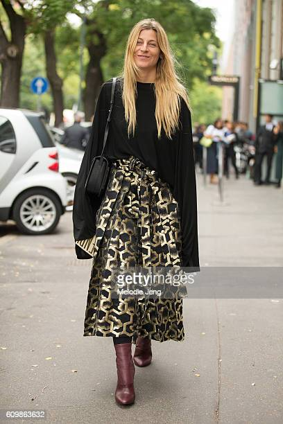 Ada Kokosar outside the Fendi show during Milan Fashion Week Spring/Summer 2017 on September 22 2016 in Milan Italy