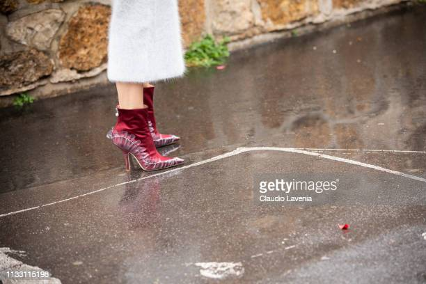 Ada Kokosar shoes details is seen outside Loewe on Day 5 Paris Fashion Week Autumn/Winter 2019/20 on March 1 2019 in Paris France