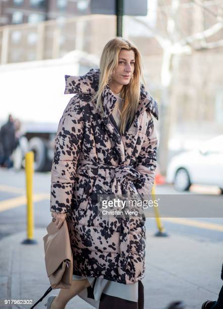 Ada Kokosar wearing parka seen outside Coach on February 13 2018 in New York City