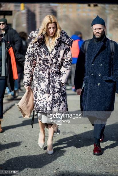 Ada Kokosar wearing parka seen outside Coach on February 13 2018 in New York City