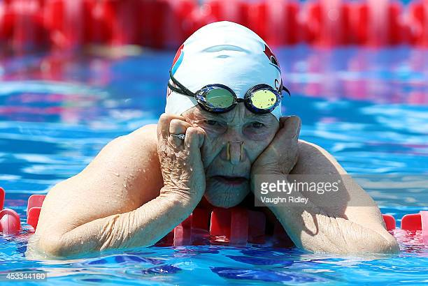 Ada Lou Watson of Canada competes in the Women's 100m Backstroke during the 15th FINA World Masters Championships at Parc JeanDrapeau on August 8...