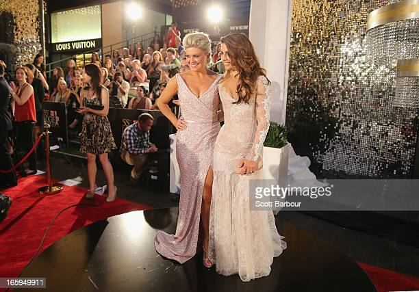 Ada Nicodemou and Emily Symons arrive at the 2013 Logie Awards at the Crown on April 7 2013 in Melbourne Australia