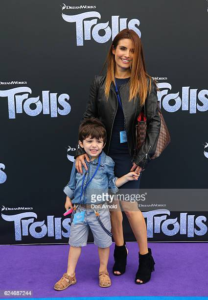 Ada Nicodemou and son Johnas Xipolitas arrives at the 'Trolls' Australian Premiere on November 20 2016 in Sydney Australia