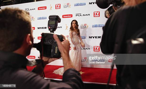 Ada Nicodemou arrives at the 2013 Logie Awards at the Crown on April 7 2013 in Melbourne Australia