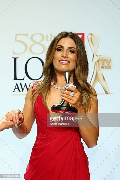 Ada Nicodemou poses with the Logie Award for Best Drama Program 'Home And Away' during the 58th Annual Logie Awards at Crown Palladium on May 8 2016...