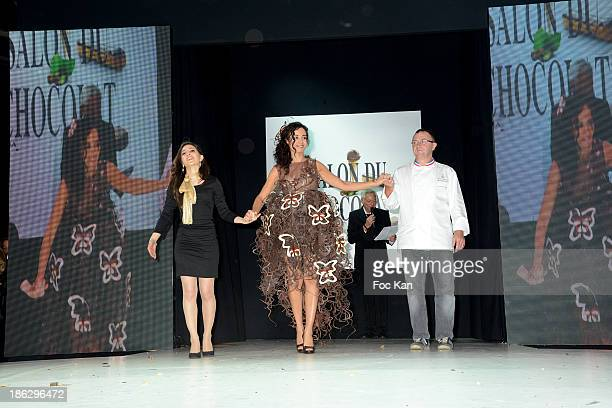 Ada Touihri dressed by Lauren Bitar and Arnaud Larher attend the Salon Du Chocolat 2014 - Fashion Chocolate Show at Parc des Expositions Porte de...