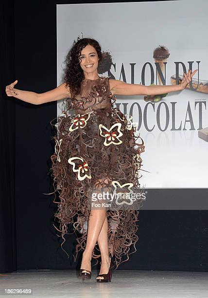 Ada Touihri dressed by Lauren Bitar & Arnaud Larher attends the Salon Du Chocolat 2014 - Fashion Chocolate Show at Parc des Expositions Porte de...