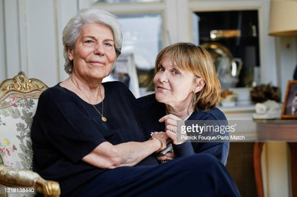 Ada Uderzo the widow of the Albert Uderzo the creator of comic book hero Astérix is photographed for Paris Match with her daughter Sylvie in...