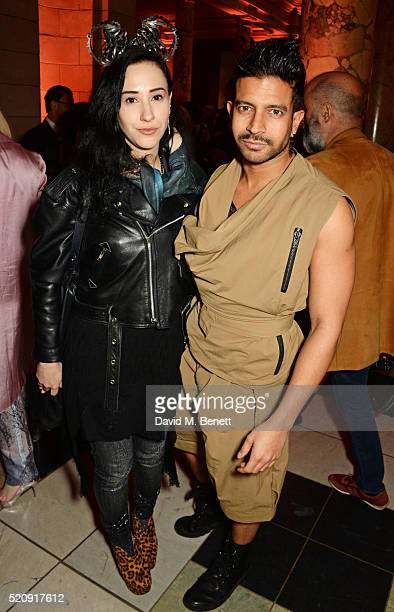 Ada Zanditon and Nik Thakkar attend a private view of new exhibition 'Undressed A Brief History Of Underwear' at The VA on April 13 2016 in London...