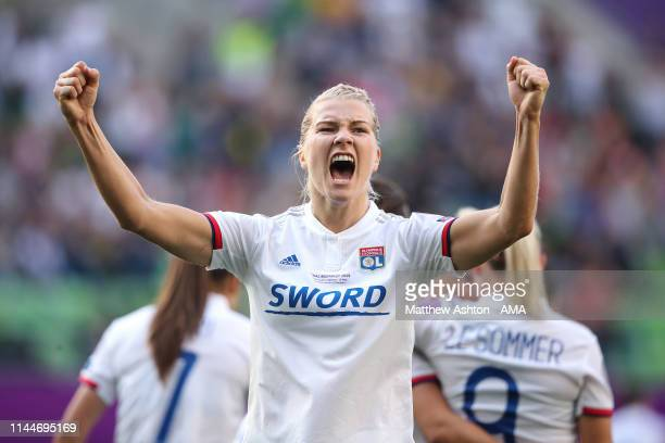 AdaHegerberg of Olympique Lyonnais celebrates after scoring a goal to make it 30 during the UEFA Women's Champions League Final between Olympique...