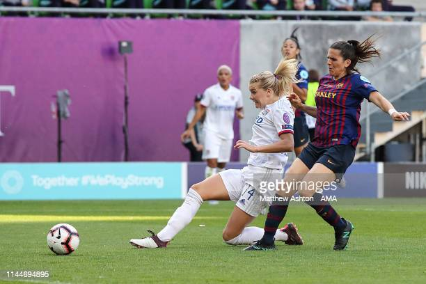 AdaHegerberg of Olympique Lyonnais scores a goal to make it 2-0 during the UEFA Women's Champions League Final between Olympique Lyonnais v FC...