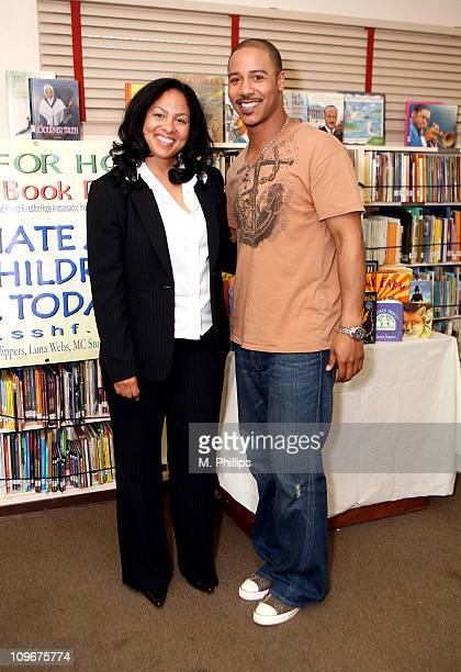 Adai Lamar of KJLH Radio and Brian White during Brian White Joins SSHF's Project Read for HOPE Celebrity Read Aloud Tour Supported by LAX Hyundai and...