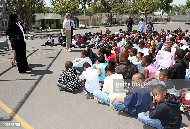 Adai Lamar of KJLH visits Century Park Elementary School in Inglewood California on April 19 2007