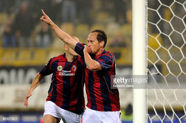 Adailton of Bologna FC celebrates a goal during the Serie A match between Bologna FC and AC Siena at Stadio Renato Dall'Ara on October 28, 2009 in...