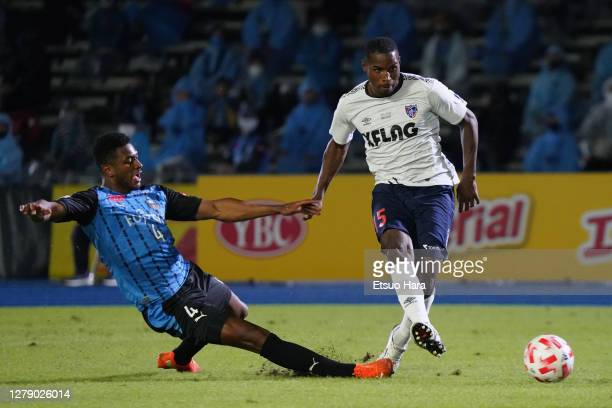 Adailton of FC Tokyo and Jesiel of Kawasaki Frontale compete for the ball during the J.League YBC Levain Cup semi-final match between Kawasaki...