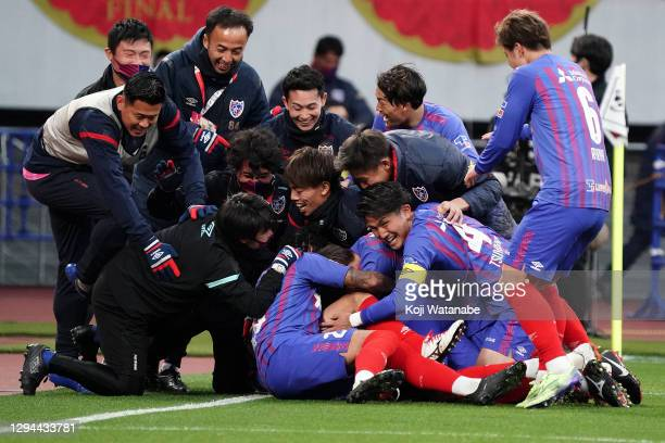 Adailton of FC Tokyo celebrates scoring his side's second goal with team mate during the J.League YBC Levain Cup final between Kashiwa Reysol and FC...