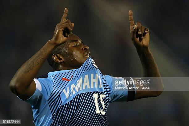 Adailton of Jubilo Iwata celebrates after scoring a goal to make it 12 during the JLeague match between Jubilo Iwata and Yokohama FMarinos at the...