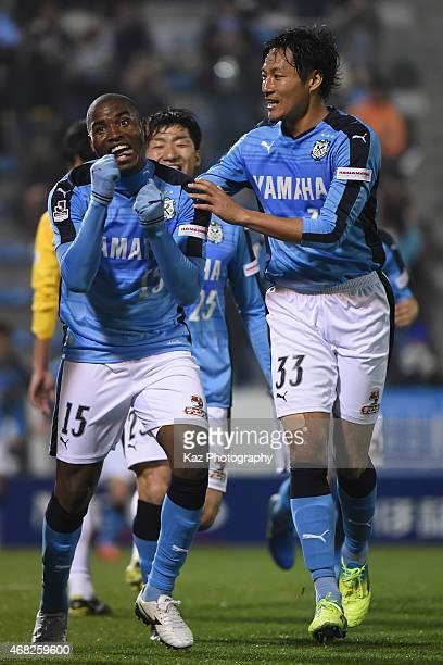 Adailton of Jubilo Iwata celebrates his opener during the JLeague second division match between Jubilo Iwata and Tochigi SC at Yamaha Stadium on...