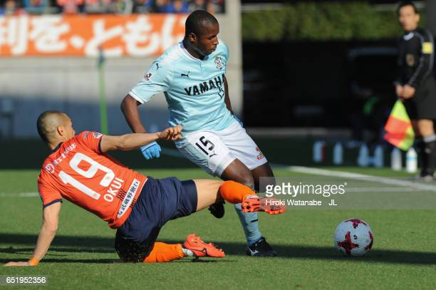 Adailton of Jubilo Iwata is tackled by Ryo Okui of Omiya Ardija during the J.League J1 match between Omiya Ardija and Jubilo Iwata at Nack 5 Stadium...
