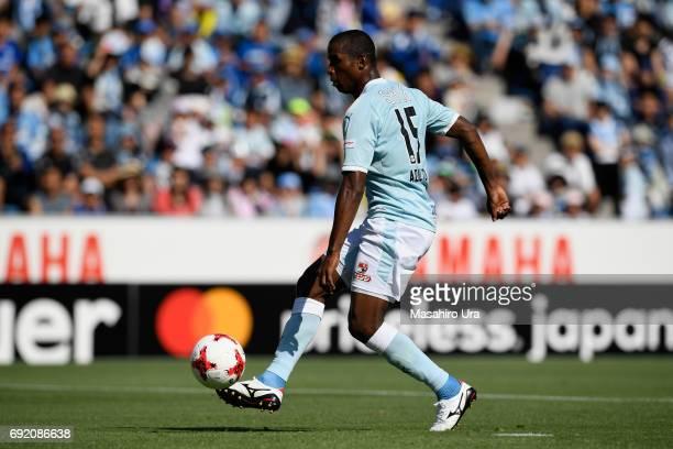 Adailton of Jubilo Iwata scores the opening goal during the JLeague J1 match between Jubilo Iwata and Gamba Osaka at Yamaha Stadium on June 4 2017 in...