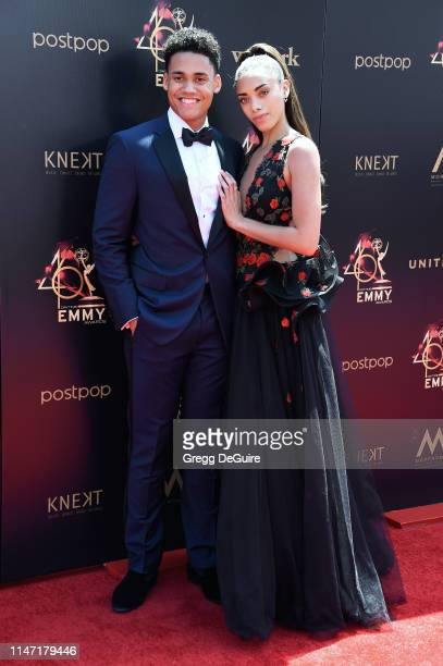 Adain Bradley and Kiara Barnes attend the 46th annual Daytime Emmy Awards at Pasadena Civic Center on May 05 2019 in Pasadena California