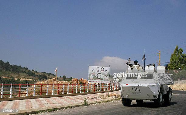UN peacekeeping soldiers patrol an area in the southern Lebanese village of Adaisseh near the border with Israel 18 June 2007 Lebanese troops battled...
