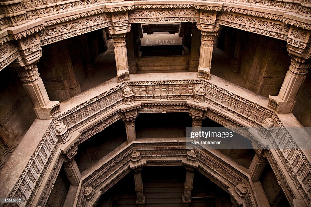Adalaj Step well - Chambers : Stock Photo