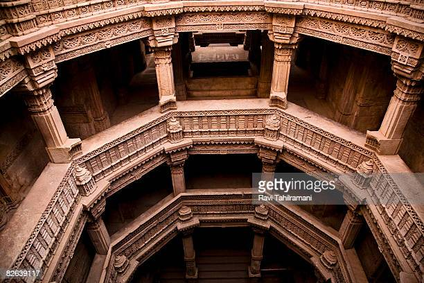 adalaj step well - chambers - step well stock photos and pictures