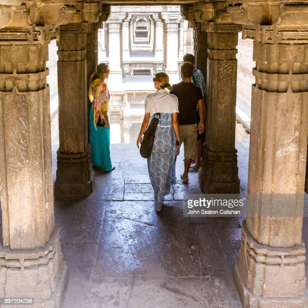 adalaj stepwell near ahmedabad - step well stock photos and pictures