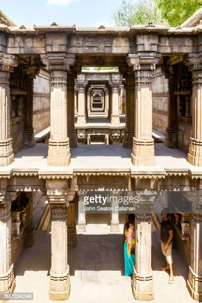 adalaj stepwell near ahmedabad - stepwell stock photos and pictures