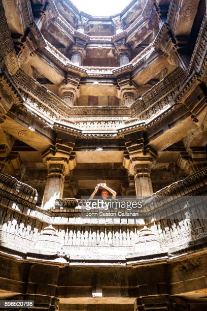 adalaj stepwell near ahmedabad - ahmedabad stock pictures, royalty-free photos & images