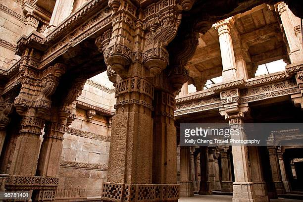 adalaj wav step well - step well stock photos and pictures