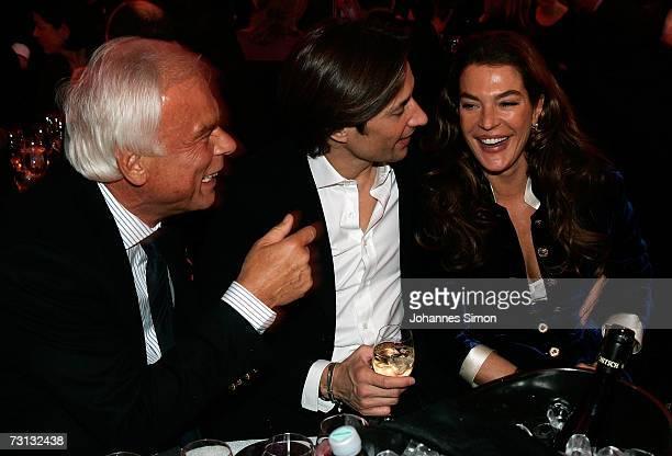 Adalbert Lhota; the former Austrian finance minister Karl-Heinz Grasser and his wife Fiona Swarovski attend the Kitzrace Party, January 27 in...