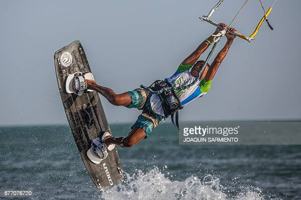 Adalberto Gomez from Colombia's Wayuu indigenous ethnia competes in the Free Style Kitesurfing competition of the Third Kite Addict Colombia...