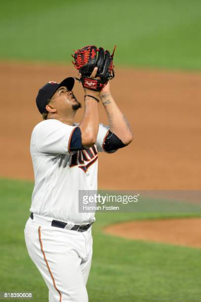 Adalberto Mejia of the Minnesota Twins celebrates as he leaves the game against the New York Yankees on July 17 2017 at Target Field in Minneapolis...