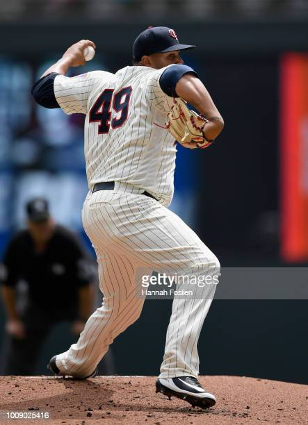 Adalberto Mejia of the Minnesota Twins delivers a pitch against the Cleveland Indians during the first inning of the game on August 1 2018 at Target...