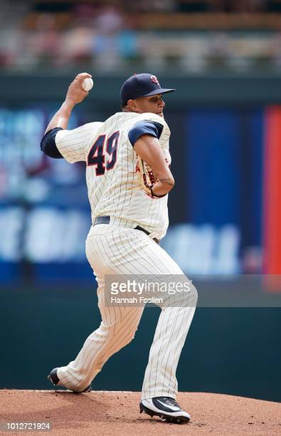 Adalberto Mejia of the Minnesota Twins delivers a pitch against the Cleveland Indians during the game on August 1 2018 at Target Field in Minneapolis...