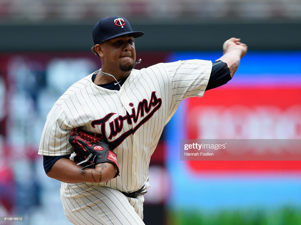 Adalberto Mejia #49 of the Minnesota Twins delivers a pitch against the Baltimore Orioles during the first inning of the game on July 8, 2017 at Target Field in Minneapolis, Minnesota.