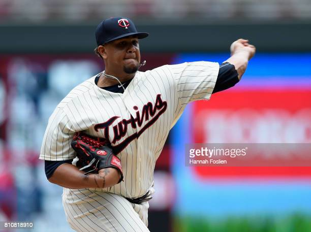 Adalberto Mejia of the Minnesota Twins delivers a pitch against the Baltimore Orioles during the first inning of the game on July 8 2017 at Target...