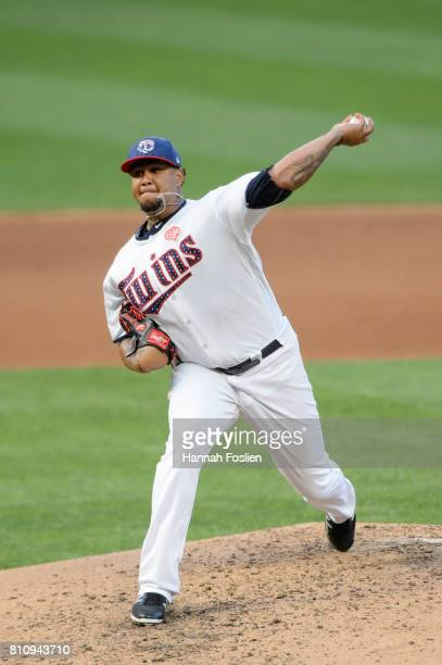 Adalberto Mejia of the Minnesota Twins delivers a pitch against the Los Angeles Angels of Anaheim during the game on July 3 2017 at Target Field in...