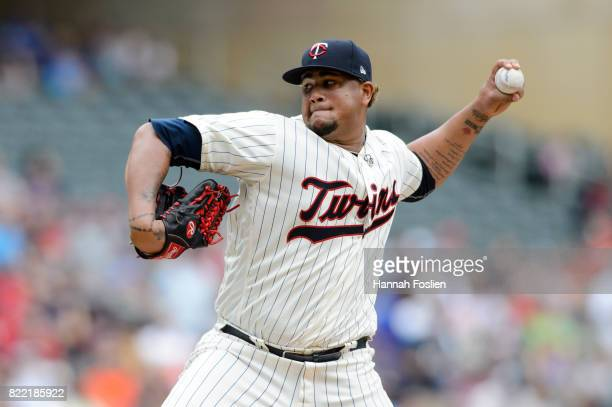 Adalberto Mejia of the Minnesota Twins delivers a pitch against the Detroit Tigers during the game on July 23 2017 at Target Field in Minneapolis...