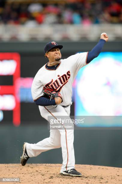 Adalberto Mejia of the Minnesota Twins delivers a pitch against the Texas Rangers during the game on August 3 2017 at Target Field in Minneapolis...
